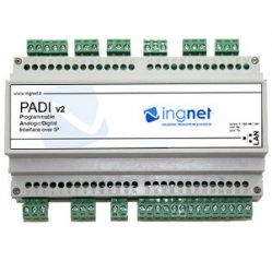 Interfaccia I/O su IP su guida DIN da 9 moduli con 8 ingressi digitali PADI 8DIN8ROUT INGNET