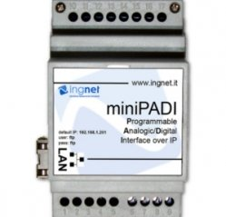 Interfaccia I/O su IP su guida DIN da 3 moduli con 2 ingressi digitali miniPADI INGNET